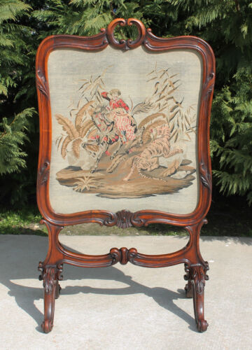 Spectacular Carved Solid Rosewood Victorian Needlepoint Firescreen c1875