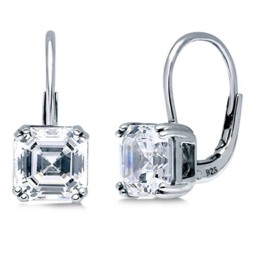 BERRICLE 925 Silver Asscher CZ Solitaire Leverback Dangle Drop Earrings 4 Carat
