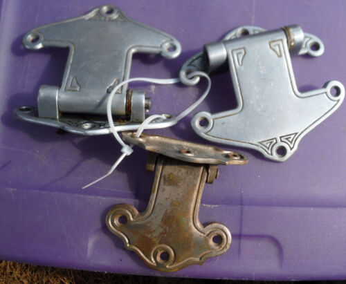 3  Beautiful Gothic Antique Brass Hinges for Barn, Cooler or Repurpose projects