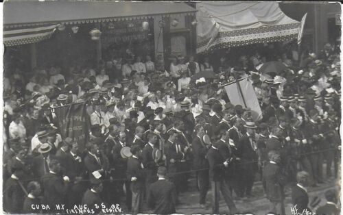 RPPC of a Fireman's Review Parade in Cuba New York August 25, 1908
