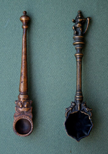 TWO ANTIQUE HINDU INDIAN RITUAL BRONZE OIL LADLE SPOON PUJA ACHAMANI