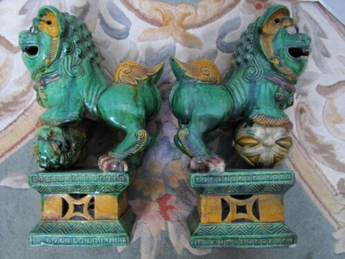Antique Chinese Pottery Glazed Foo Dog Statues.Very Large Pair