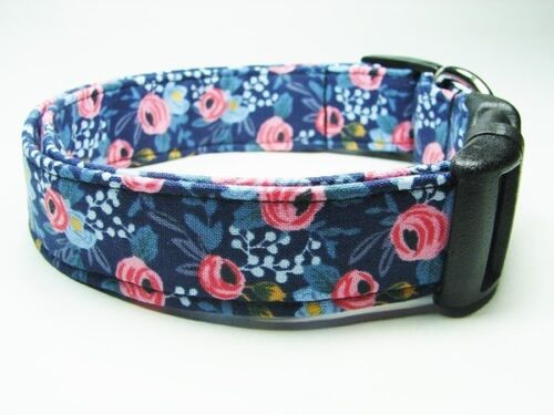 Charming Navy with Pink Roses Dog Collar