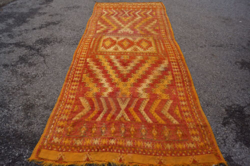 3X11FT Antique  Amazing handmade Moroccan Beautiful colorful Runner! circa 1920