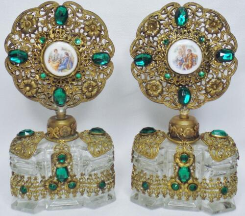 MAGNIFICENT PAIR 2 ANTIQUE CZECH SIGNED EMERALD JEWELED FILIGREE GLASS PERFUME