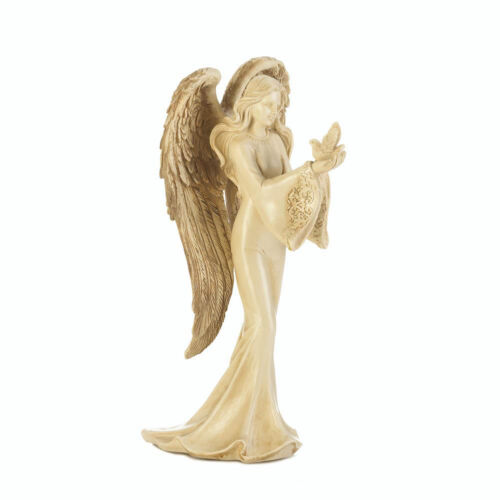 "ANGELS: Beautiful Angel Carrying A Dove Peace Figurine 8"" Tall Statue NEW"