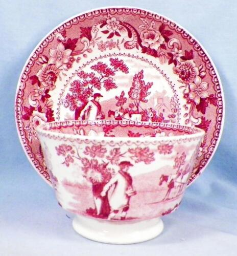 Antique Pink Transferware Cup & Saucer The Sower Handleless Planting Seeds