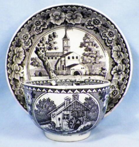Antique Black Transferware Cup & Saucer Luxembourg Handleless Church Mill Booths