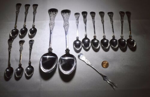 NORWEGIAN NORWAY MAGNUS AASE 830S 'FLAT ROSE' DEMITASSE SET SERVING SPOON-PICKLE