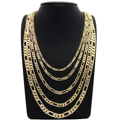 """Mens italian Figaro link Chain 14k Gold Plated 3mm to 7mm 18"""" 20"""" 24"""" 30"""""""