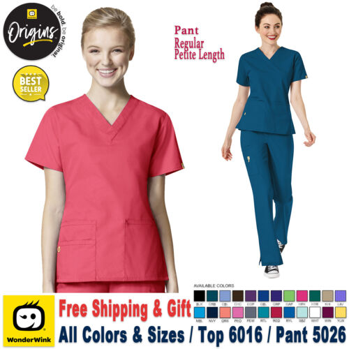 WonderWink Origins TOP 6016 PANTS 5026 Scrubs Set Medical  Bottom Work Uniform