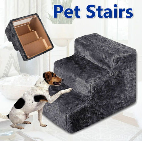 Portable Pet Soft Plush 3 Steps Ladder Dog Cat Stairs Ramp Washable Cover <br/> Promotion! Save up to 10% when you buy more!