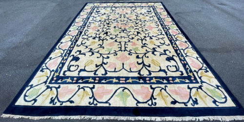 Antique Hand Made Art Deco Chinese Rug 9x12ft   Circa 1910