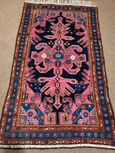 Unique Purple  color one of the millions!  Antique P....n Kurdish rugs 4x7ft