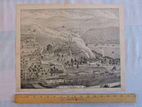 ORIG 1875 ORANGE COUNTY Greenwood Iron Works Parrott NEW YORK LITHOGRAPH 13x16