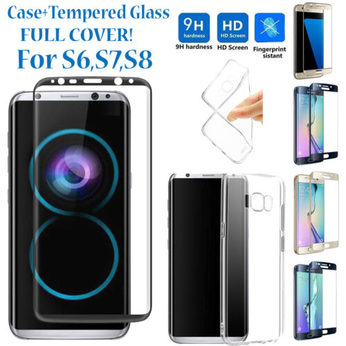 Full Cover Tempered Glass Screen Protector for Samsung Galaxy S6/S7/S8 Edge+Case
