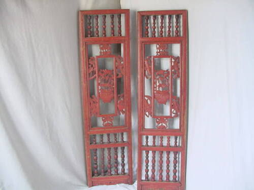ANTIQUE TWO CHINESE CARVED WOOD SCREENS VINTAGE PAIR WALL PANELS NR