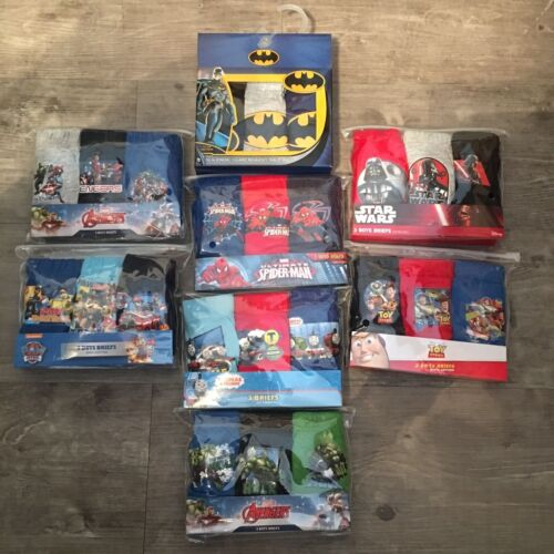 3x Pairs Boys Kids Baby Disney Marvel Character Underwear Pants Briefs Age 1 - 8