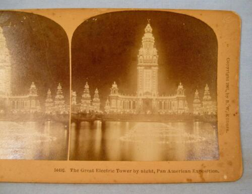 Stereoview B W Kilburn The Great Electric Tower At Pan American Exposition (O)