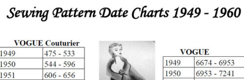 CHART to Date Sewing Patterns 1949 - 1960 VOGUE ADVANCE + *NOT A PATTERN*