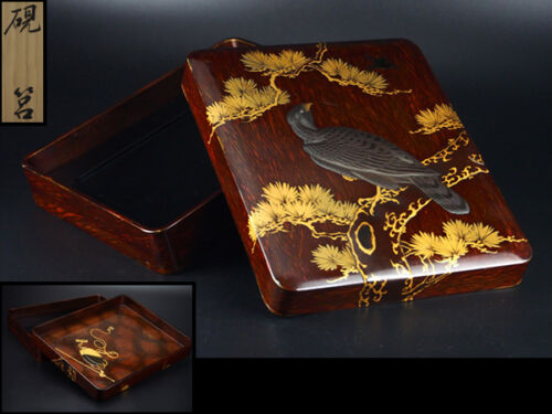 Japanese lacquer calligraphy box . 1890-1920  I55
