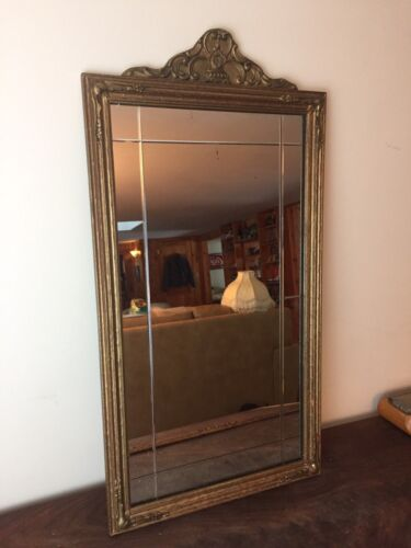 Antique Gold Gilt Framed Old Beveled Wall Mirror Excel Cond! Nouveau Deco