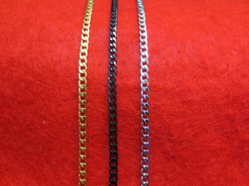 """STAINLESS STEEL MEN WOMEN 16""""-50"""" 3MM GOLD,SILVER,BLACK, CURB CHAIN NECKLACE"""