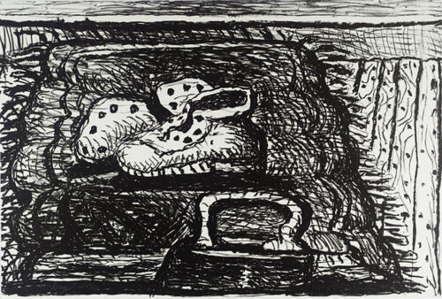 "PHILIP GUSTON Signed Original 1980 Lithograph - ""Rug"", Published by Gemini GEL"