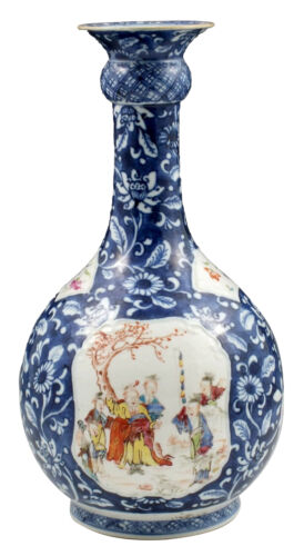 Spectacular 18thC Chinese Famille Rose Vase w/ Character Scenes