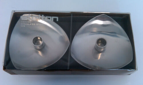 Vintage Stelton Danish Stainless Steel 18/8 Candle Holders with box