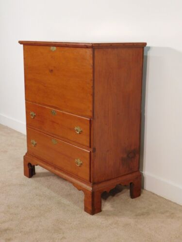 ANTIQUE 19th Century Heart of Pine Chippendale Mule Chest w Original Nail Hinges