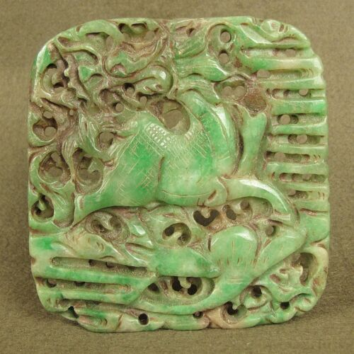 """3.5""""WITH CARVED CHINESE ANTIQUE JADEITE JADE MYTHICAL ANIMAL PENDANT DECORATION"""