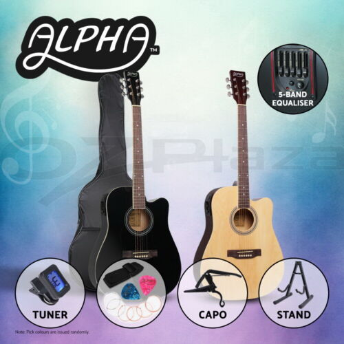 """Alpha 41"""" Inch Electric Acoustic Guitar Wooden Classical Folk Case Steel String"""