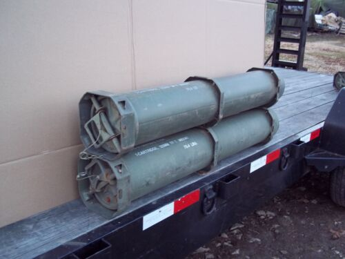 2 TUBES.....MILITARY SURPLUS 120MM AMMO TUBE GUNS AMO RIFLE MONEY VALUABLES ARMYBoxes & Chests - 165616