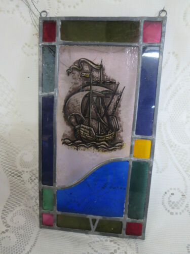 Vintage Stained Glass Window Hanging w/ Reverse Painted Sailing Ship