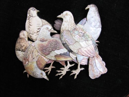 Pair of Antique Mother of Pearl & Seashell Hand-Carved Pigeon Bird Carvings