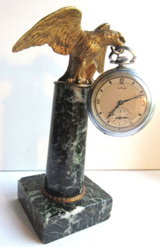 RARE French watch case, golden bronze eagle on green marble column, Napoleon III