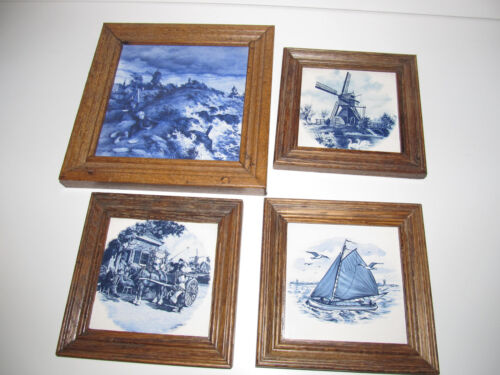 VINTAGE Ceramic Delft ROYAL MOSA HOLLAND Dutch Blue Wash Day TILES lot