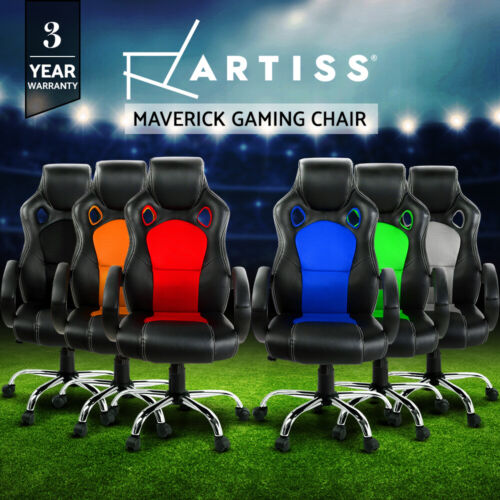 Artiss Gaming Chair Office Executive Computer Chairs Racer Executive Seat Mesh <br/> Quality PU Leather / Tilt Adjustment / 3-Yr Warranty