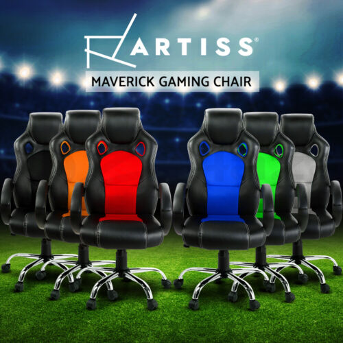 Artiss Gaming Chair Office Executive Computer Chairs Leather Seat Mesh <br/> Quality PU Leather / Tilt Adjustment / 3-Yr Warranty