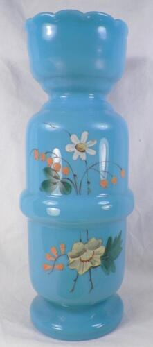 Antique Bristol Glass Vase Blue Opaque Hand Painted Flowers Victorian Beauty