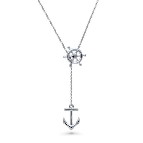 BERRICLE Sterling Silver Anchor Helm Fashion Lariat Necklace