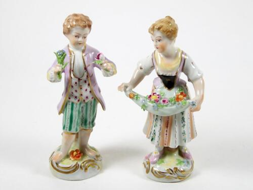 Antique Dresden Figurine Pair Carl Thieme Hand Painted Boy & Girl Circa 1902+