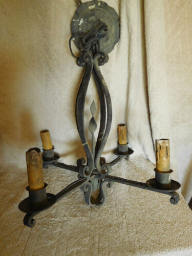 ANTIQUE MISSION ARTS AND CRAFTS WROUGHT IRON CHANDELIER SPANISH VINTAGE~FREE S&H