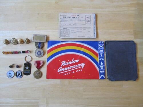 Lot of Military items:  Medals, Buttons, Coins, American Legion, Ration BooksOther Militaria - 135