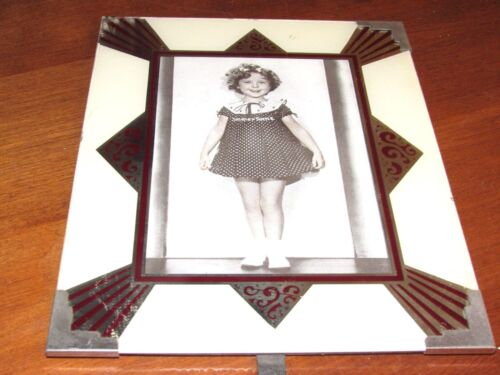 """SHIRLEY TEMPLE ART DECO 8"""" X 10"""" REVERSE GLASS PAINTED PICTURE FRAME-SILVR,IVORY"""