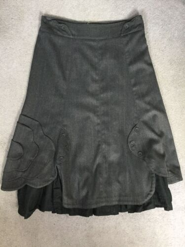 SIGAL DEKEL -GREY A-LINE SKIRT WITH CURVED LAYERS ON SIDES & BLACK LINING - S