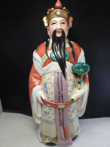 Chinese Famille Rose Porcelain Immortal Fortune God Buddha Figurine