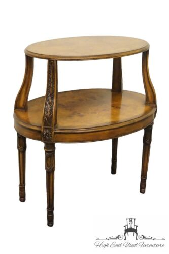 HENREDON Burl Olive Wood Louis XVI French Style Oval End Table