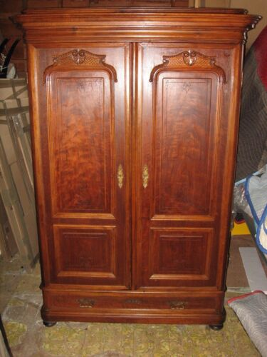 """Large 76"""" Antique French Louis XIV Style Carved Walnut Wood Armoire w/Key **SALE"""